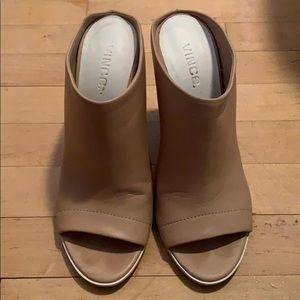 Vince tan leather heeled mules